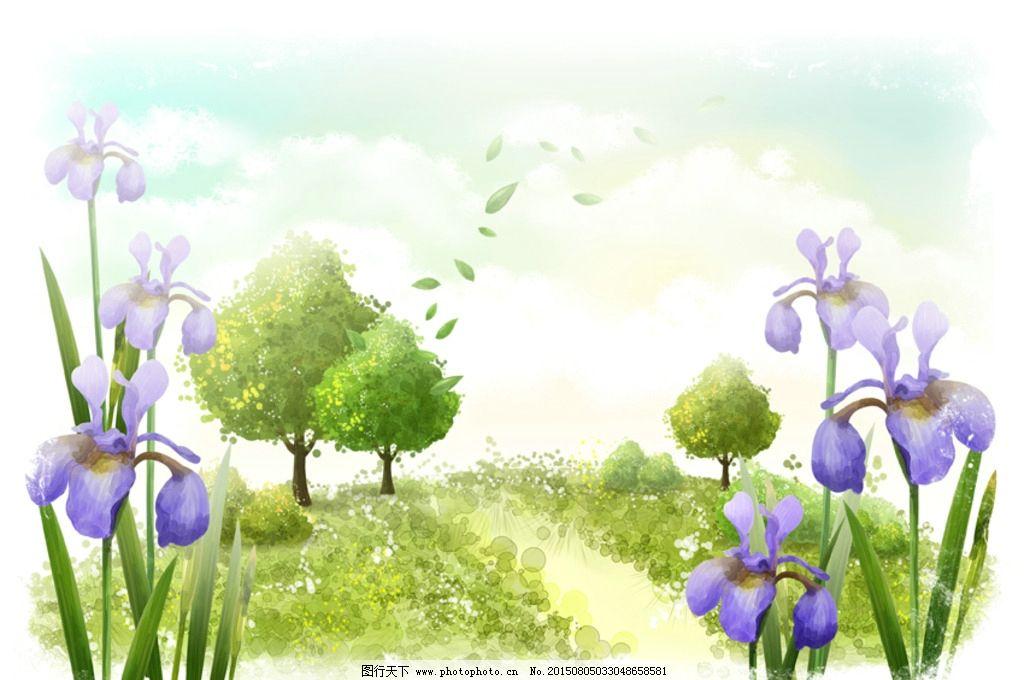 唯美插画手绘树叶