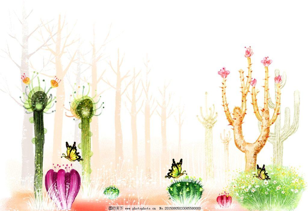 手绘水彩仙人掌风景插画图片