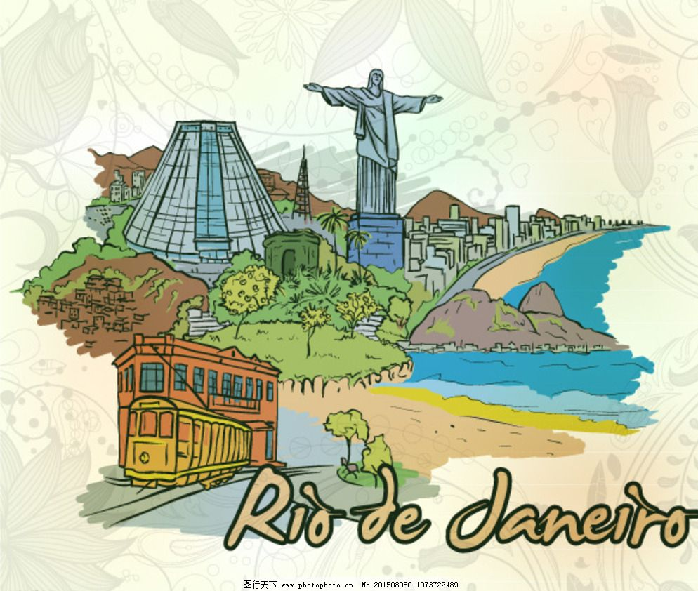 建筑设计 手绘城市建筑 都市 城市 巴西 里约热内卢 手绘 世界地标