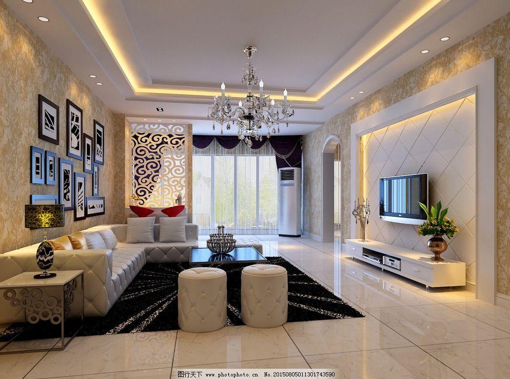 现代欧式客厅壁纸效果图 别墅 瓷片 瓷砖 仿古砖 分层图 室内