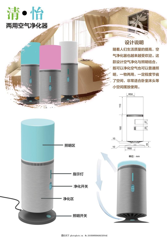 设计展版 工业设计 空气净化器 设计展板 排版设计 设计说明 psd 白色