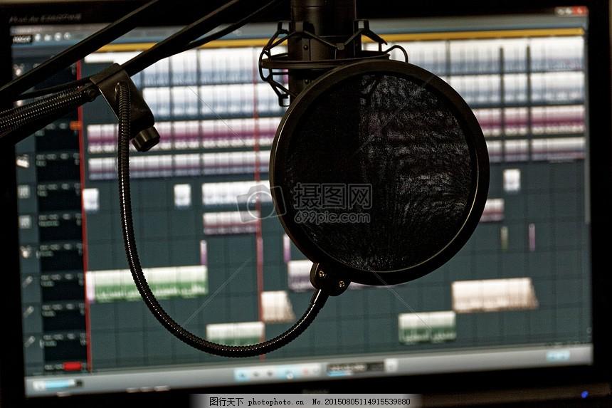 工作室 混音器 音频 控制器 搅拌机 音乐工作室 录制 红色