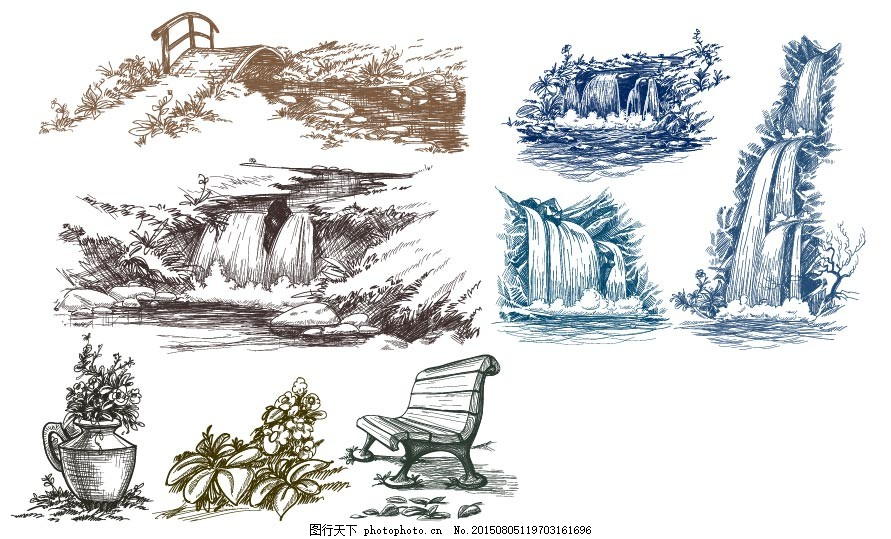 精美手绘线稿 手绘 线 线稿 矢量素材 山水 瀑布 花 ai 白色 ai