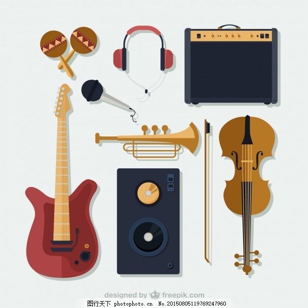 乐器收藏 音乐 艺术 吉他 麦克风 音响 耳机 音箱 乐队 小提琴