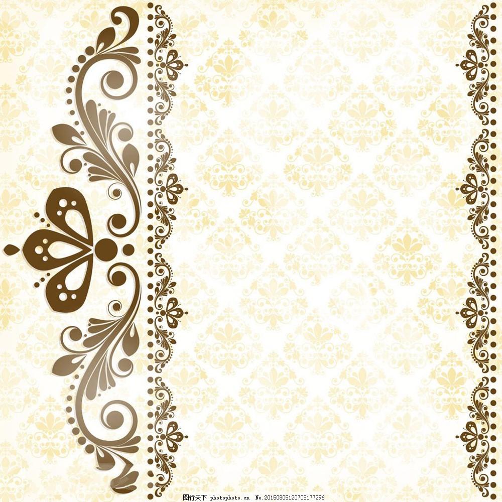 欧式花边花纹背景矢量图库下载 素雅 黄色 白色