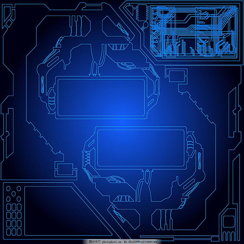 蓝色科技背景 蓝色梦幻背景 科技背景 创意抽象背景 电路图背景 其他