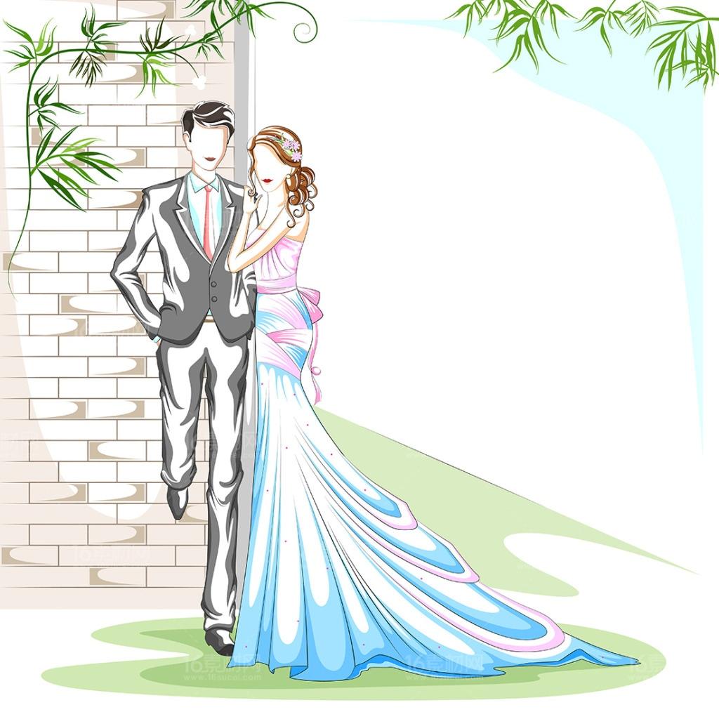 16卡通手绘新人情侣插画矢量素材 卡通手绘新人情侣插画矢量素材 结婚
