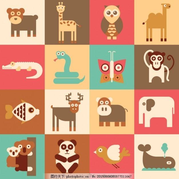 扁形动物的集合 图标 卡通 平面 平面图标 图标集 野生动物 白色