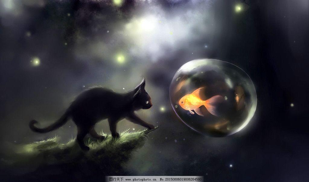 梦幻可爱猫咪图水彩