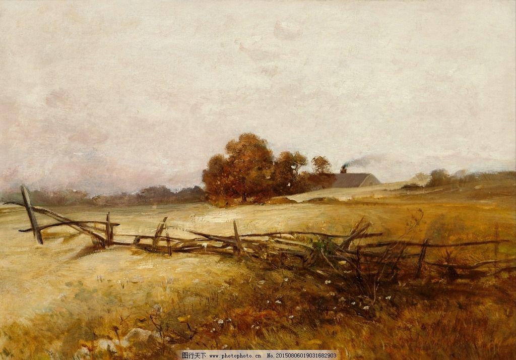 荒野风景油画图片