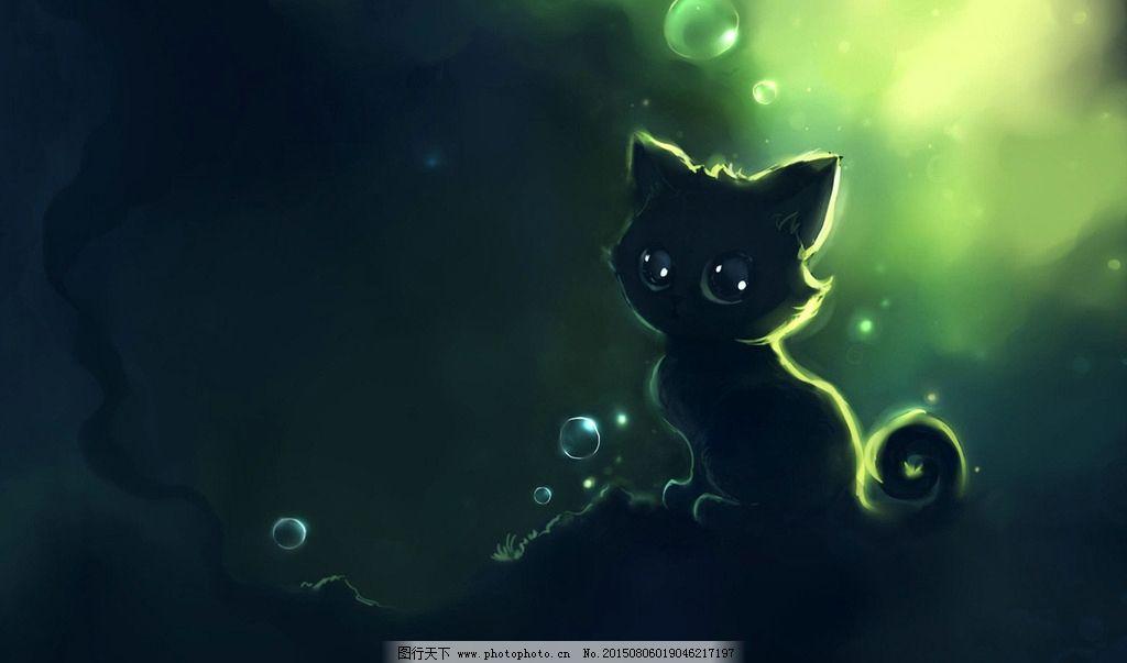 猫咪插画图片,可爱猫咪 可爱小猫 小黑猫 喵星人 手绘