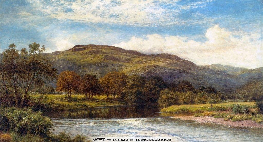 河流 溪流 树林 森林 山脚 布面油画 风景油画 油画风景 古典油画