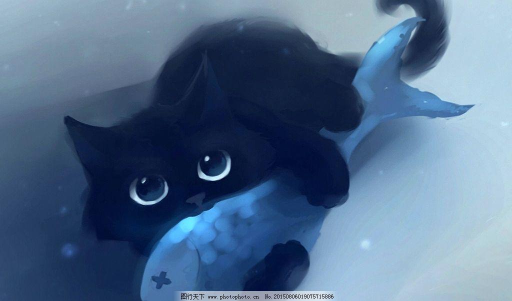 可爱小猫 小黑猫 黑猫 喵星人 猫咪 小猫 猫 手绘小猫 手绘黑猫 小鱼