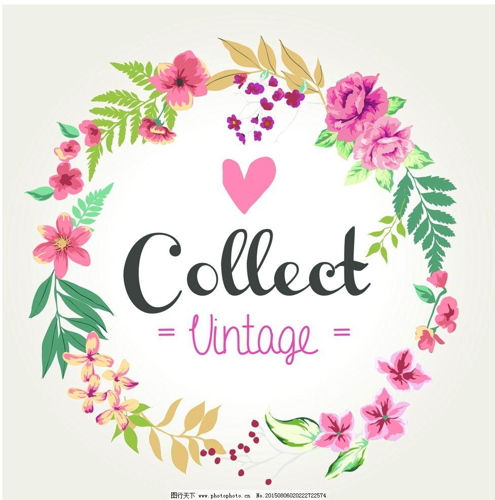 卡片 名片图片,时尚 可爱 花环 花朵 精美-图行天下