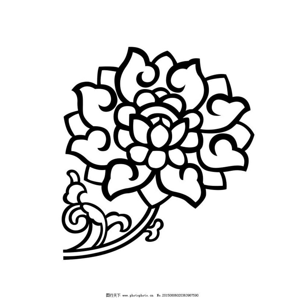 传统花样 莲花矢量 花朵剪影 矢量花 传统花 矢量线描 设计 底纹边框