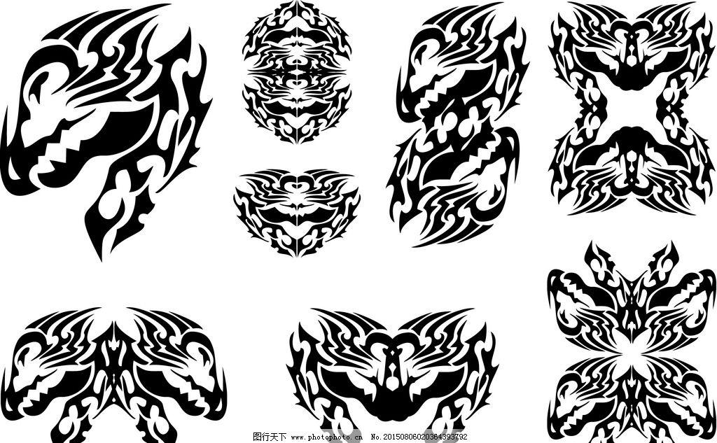 纹身 手绘 纹样 花纹 纹身图案 设计 矢量 ai  设计 底纹边框 花边