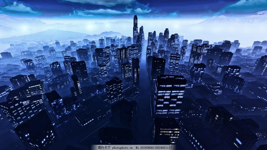 繁华都市背景 海滨城市 城市夜景 高楼大厦 鸟瞰摩天大楼 建筑设计
