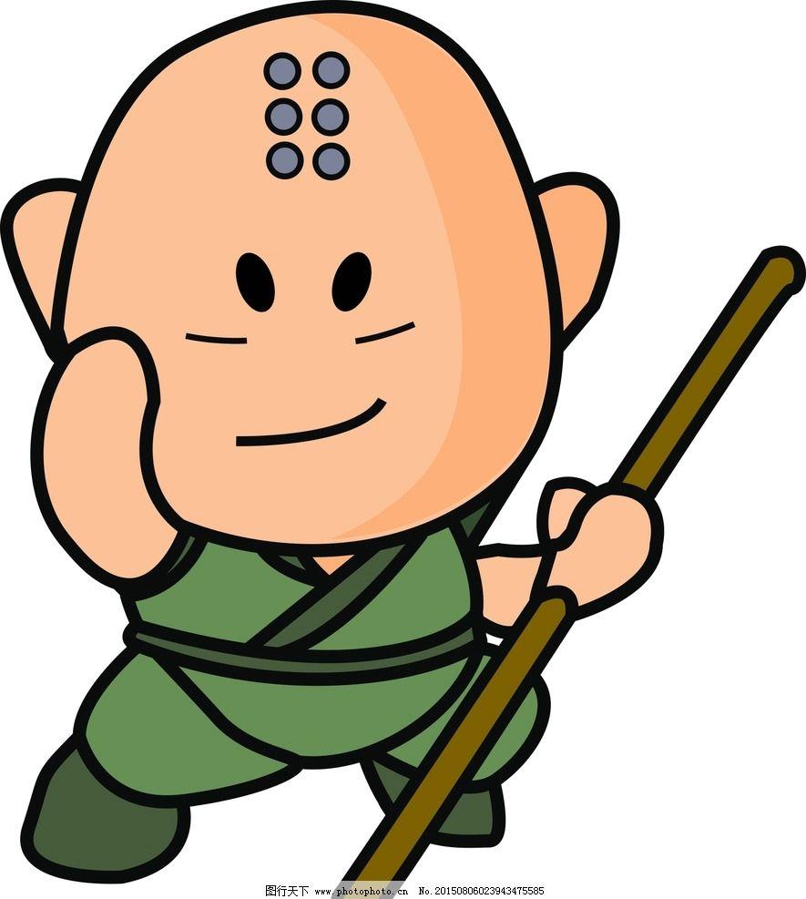 小和尚 木棒 五官 卡通 光头 设计 人物图库 其他 cdr
