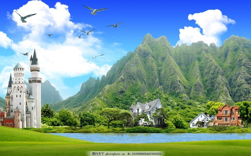 韩式自然背景 风景 风景图 风景图片 风景画 花 花朵 蓝天 白云