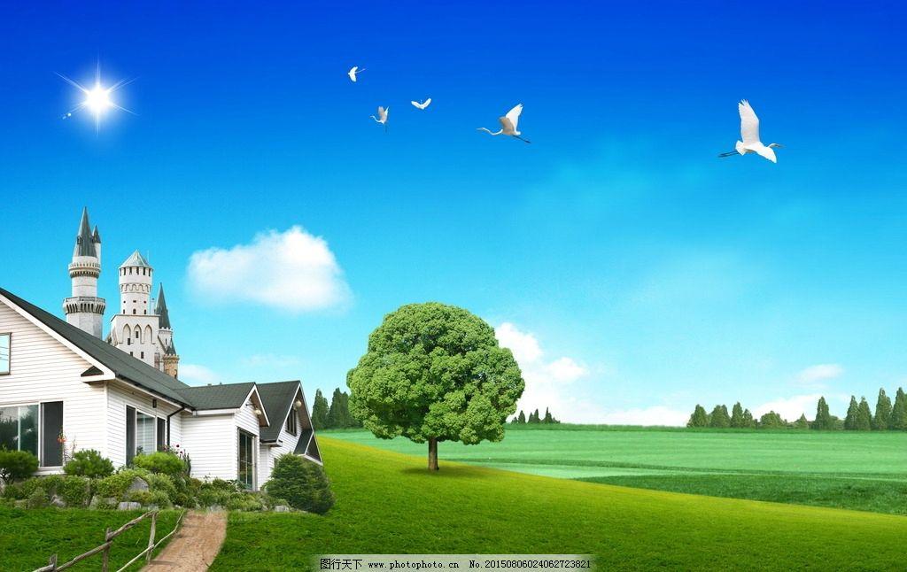 别 墅 欧式别墅 鸟儿 红花 水 湖泊 园艺 高清背景素材 壁纸 韩式高图片
