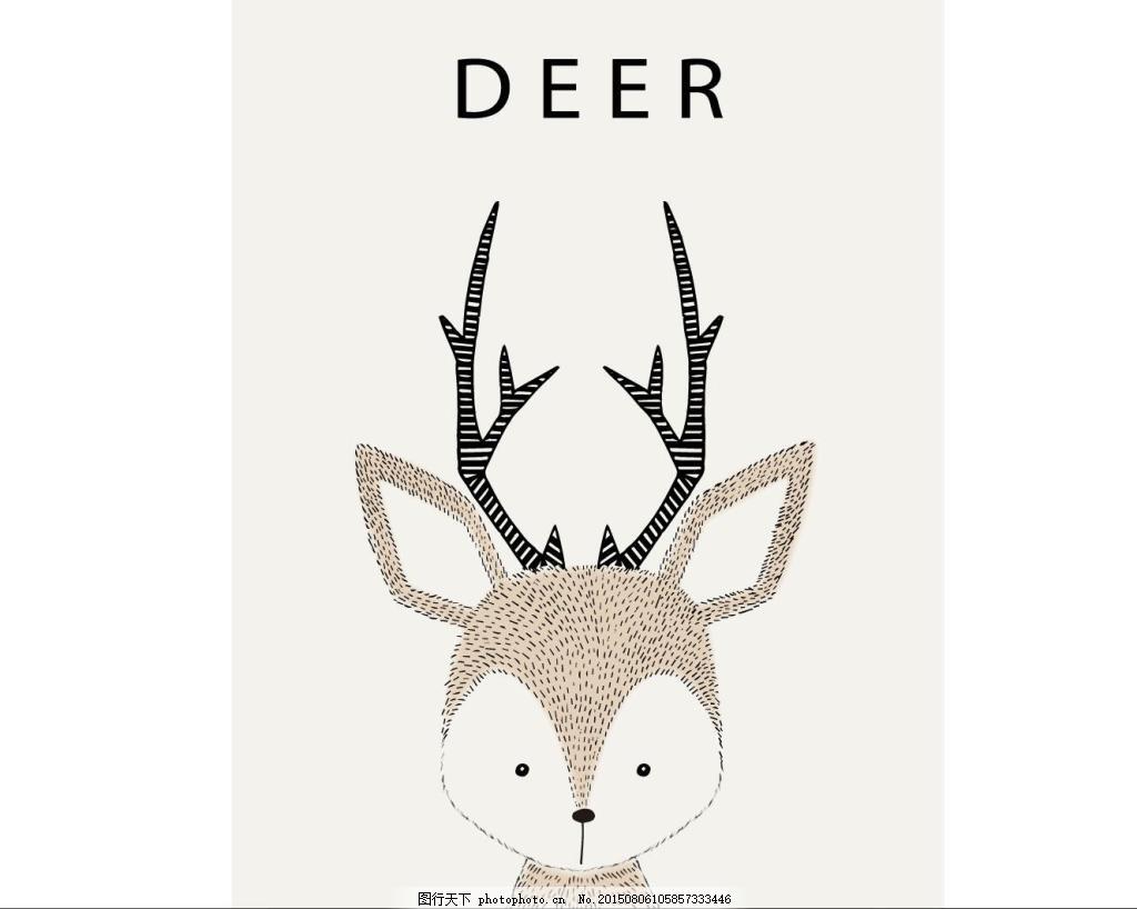 可爱动物 小鹿 时尚图案 动物背景 deer 可爱小动物 ai 白色 ai