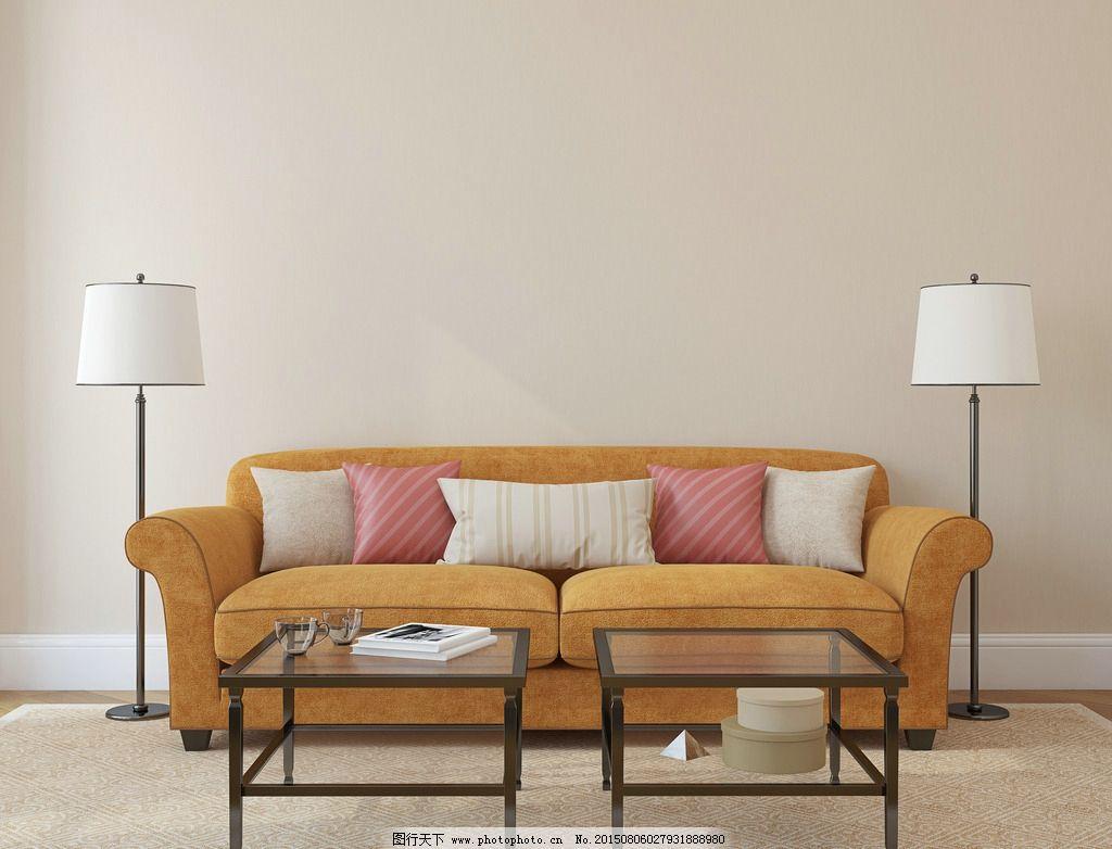 客厅 沙发 木地板 地毯 靠枕 茶几