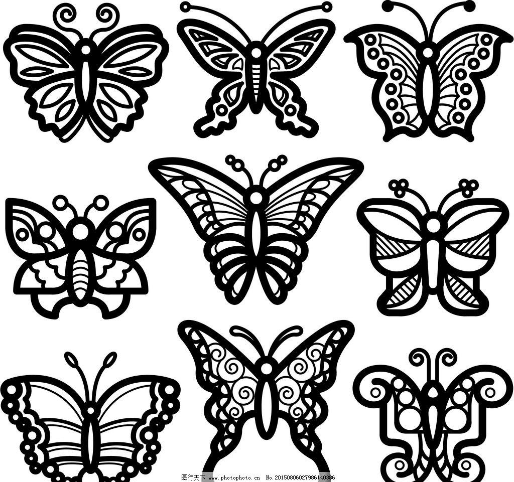 纹身 手绘 纹样 蝴蝶花纹 纹身图案 设计 矢量 ai 设计 环境设计 室内