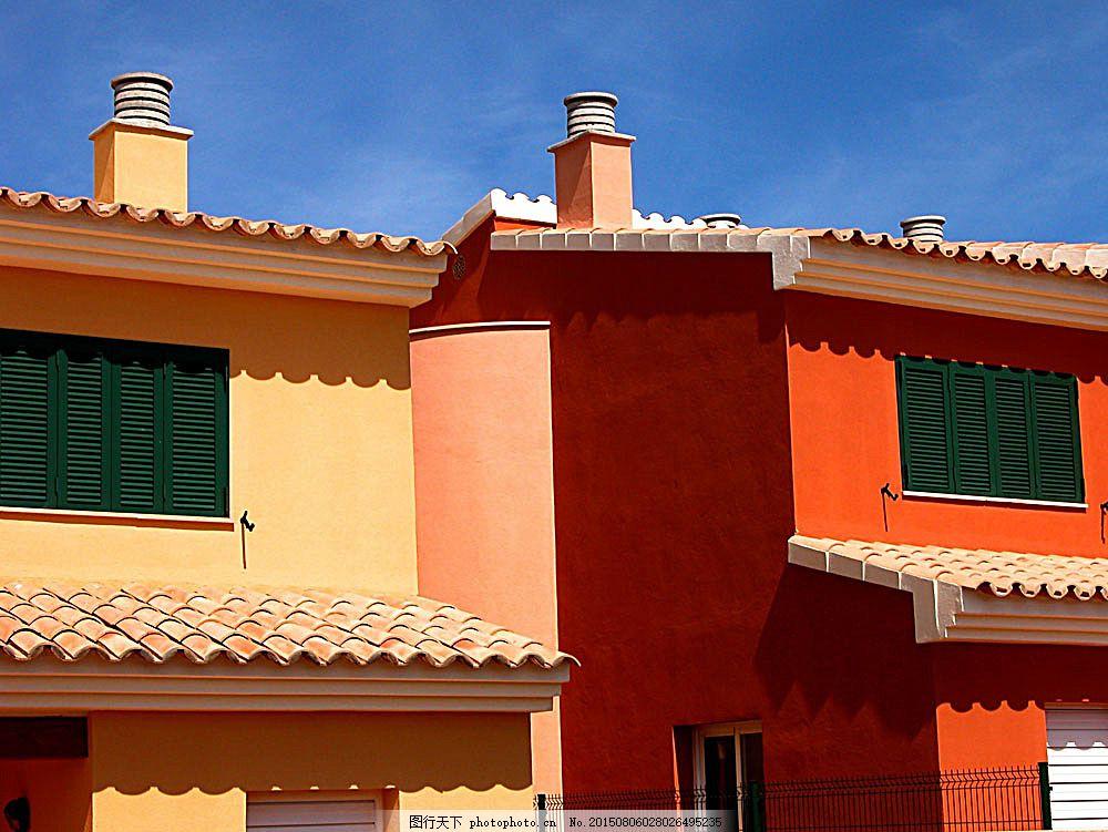 红色楼房建筑 别墅庭院 欧式别墅 别墅设计 小洋房 豪华别墅 房子