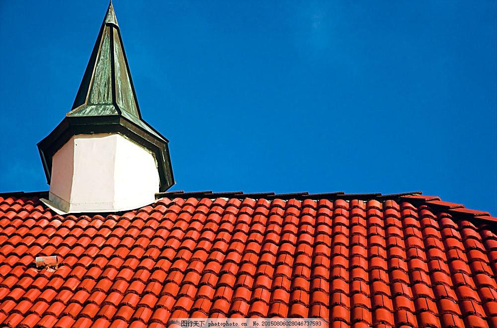 蓝天房顶背景 天空 烟筒 建筑 房子 环境家居 图片素材 蓝色