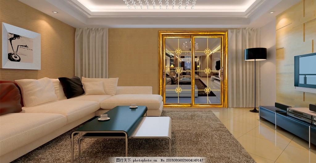 豪华欧式铝门客厅效果图 客厅装修 豪华移门装饰图 铝合金门 灰色