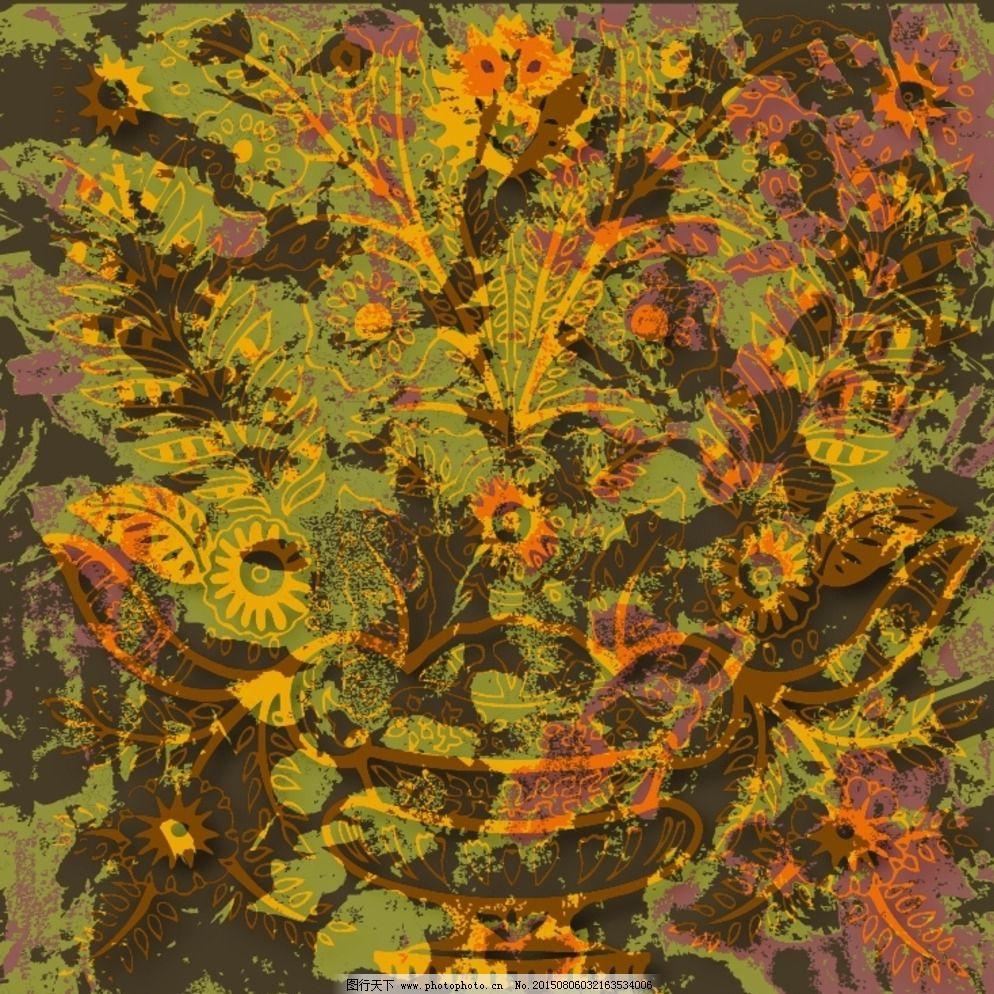 抽象花卉组合热带风情 抽象几何 动物图案 风景建筑 服装印花 花卉
