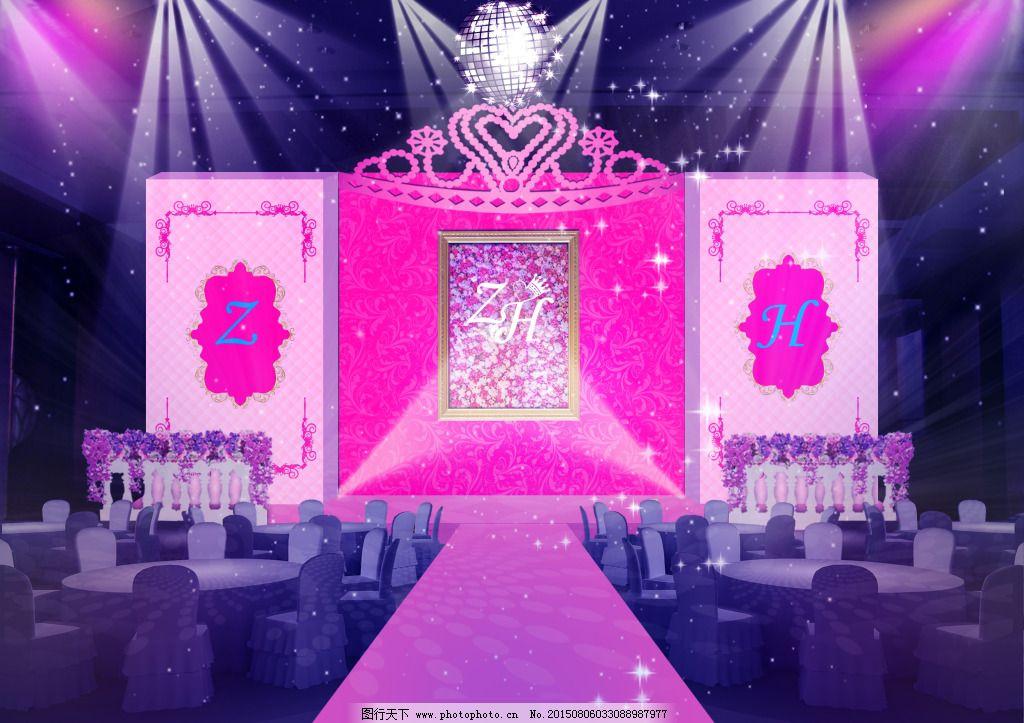 舞台 鲜花 婚礼 枚红色 粉红色 舞台 灯光 皇冠 鲜花 大气 欧式花纹