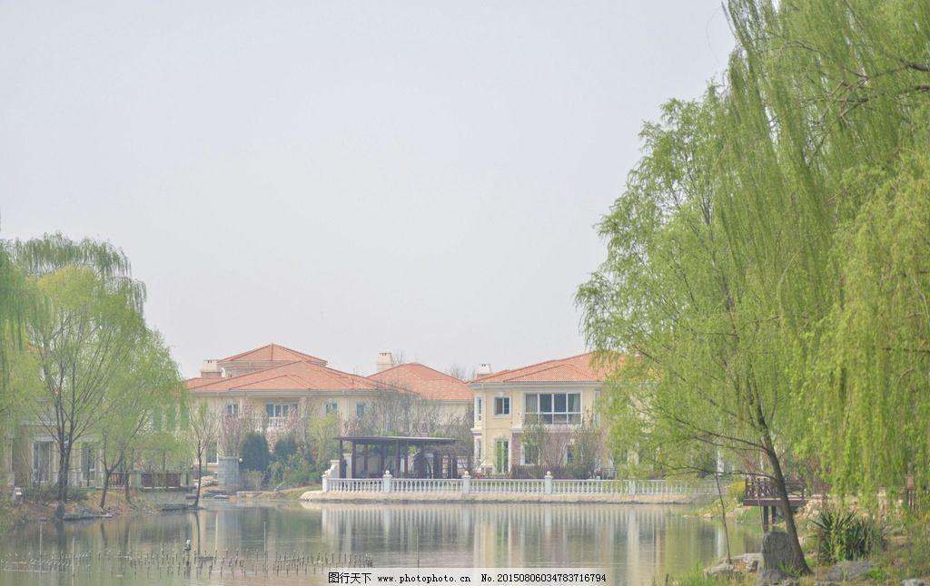 房屋 倒影 柳树 建筑 摄影 山水风景 摄影 自然景观 建筑景观 300dpi