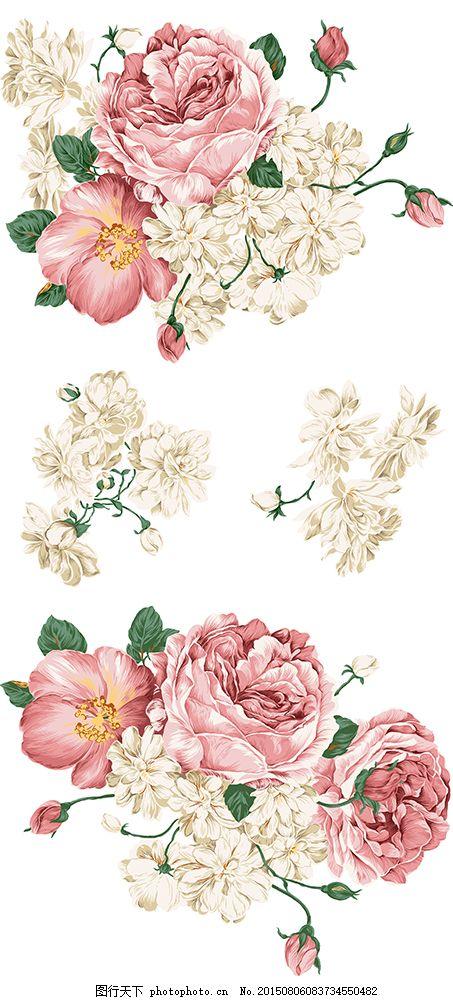 漂亮的手绘风格牡丹花psd分层素材 牡丹 牡丹花 叶子 花朵 花卉 鲜花
