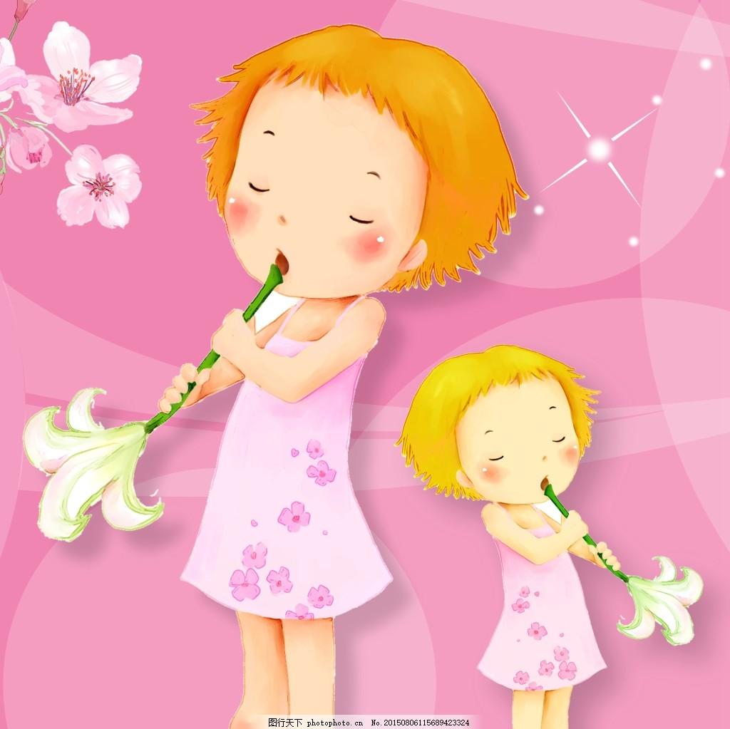 可爱小朋友玩荷花 卡通 油画 人物     粉色 jpg图片