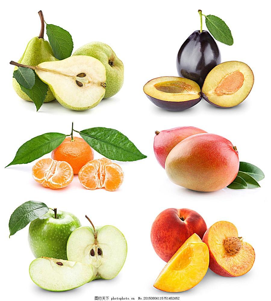 切开的水果 新鲜水果 果实 水蜜桃 苹果 桔子 橘子 梨子 李子图片