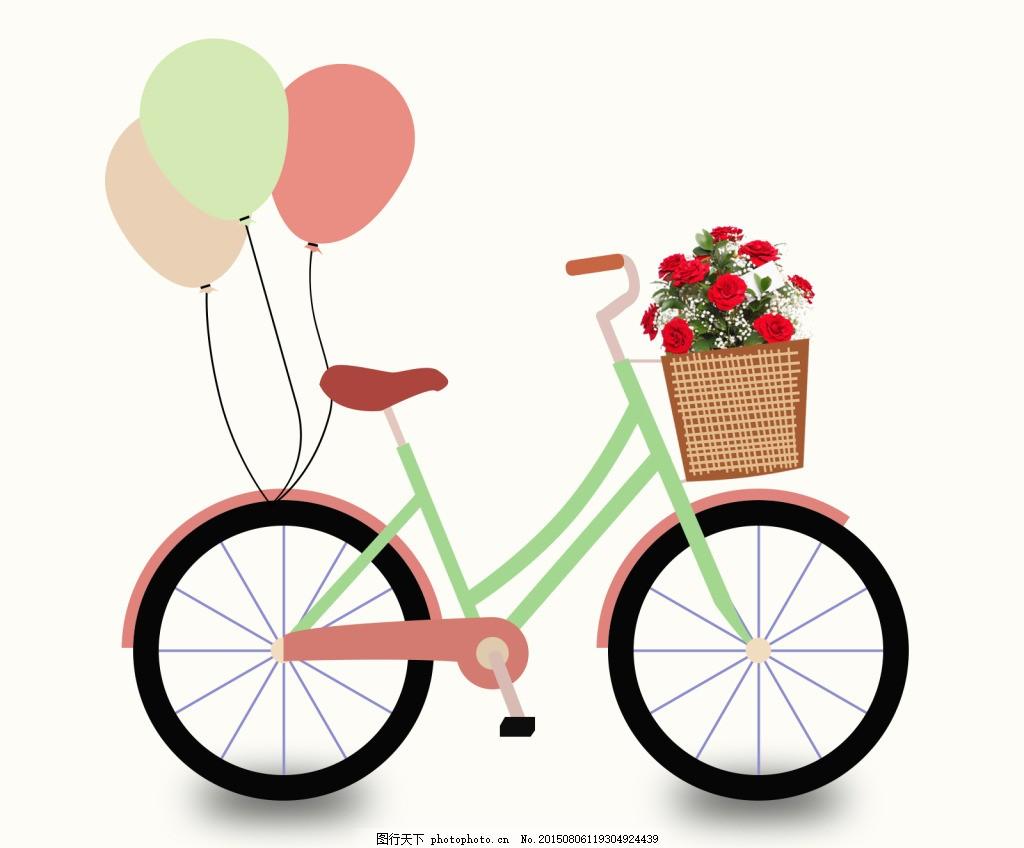 唯美花篮自行车