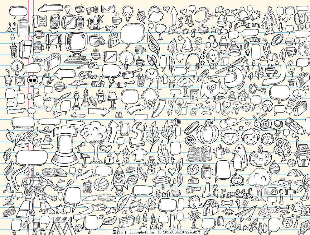 手绘 黑白 对话框 素描 箭头 设计 生活百科 电脑网络 eps 白色