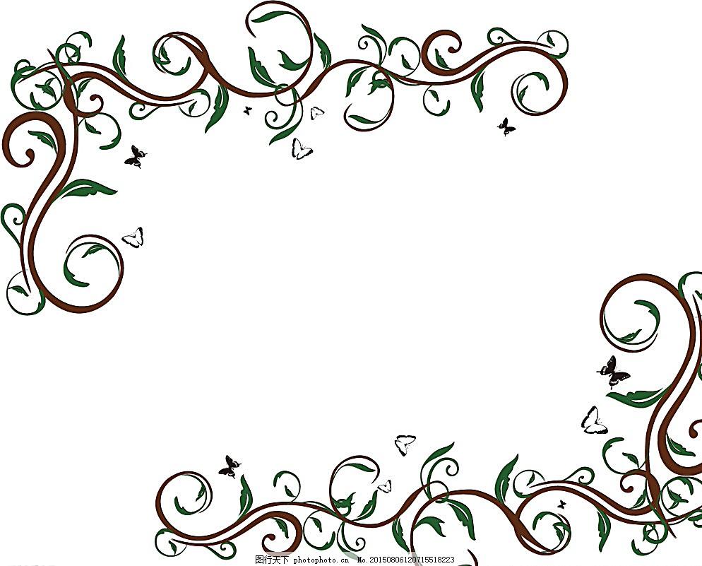 花叶线条角花矢量图 硅藻泥雕刻花 对角花 花式 液体壁纸 雕刻素材图片