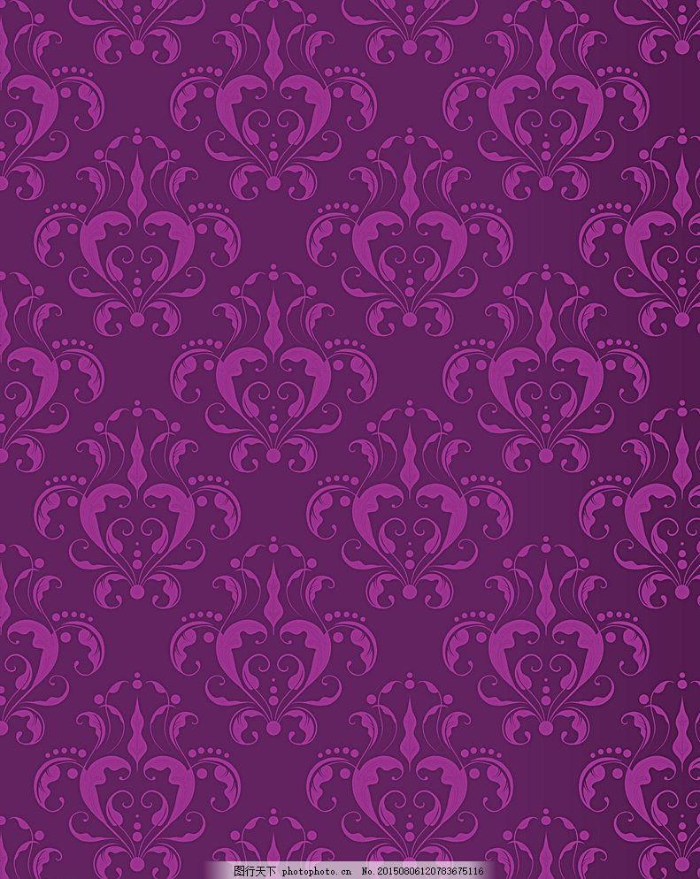 紫色 花纹底图 紫色花纹背景 墙纸花纹 欧式墙纸 底纹边框 红色