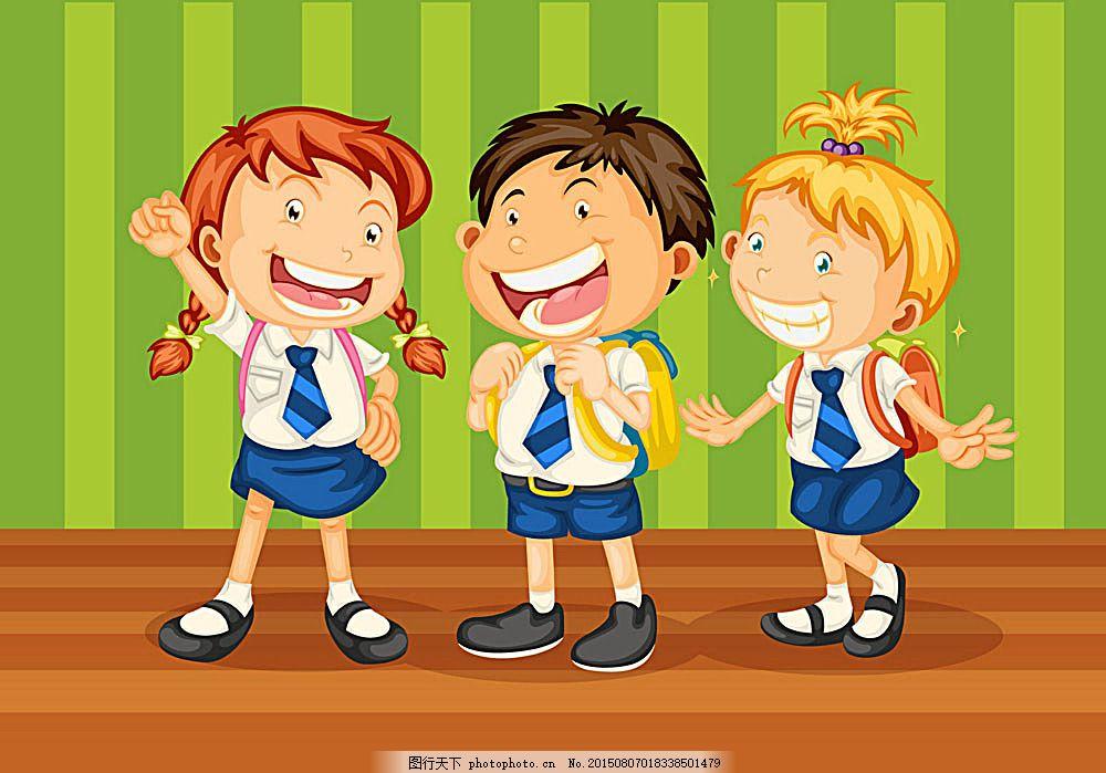 背书包上学的小学生 书本 小学生 小朋友 小男孩 小女孩 儿童 手绘