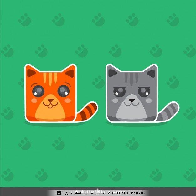 两只可爱的猫贴纸 猫 动物 贴纸 卡通 可爱 印刷 足迹 动物印刷 包装