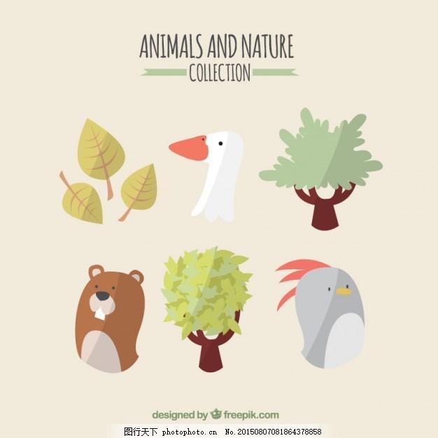 树 手 自然 叶 动物 手画 鸡 可爱 树叶 熊 可爱的动物 画 野 季节