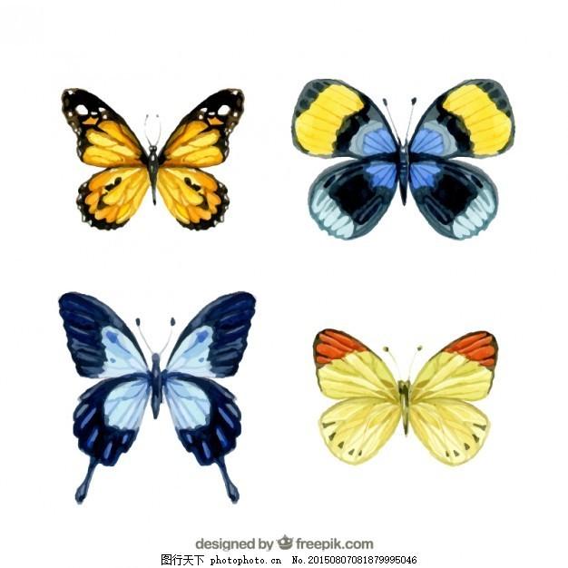 水彩画的蝴蝶 摘要 水彩 手 蝴蝶 动物 绘画 翅膀 昆虫 手绘 画 ai