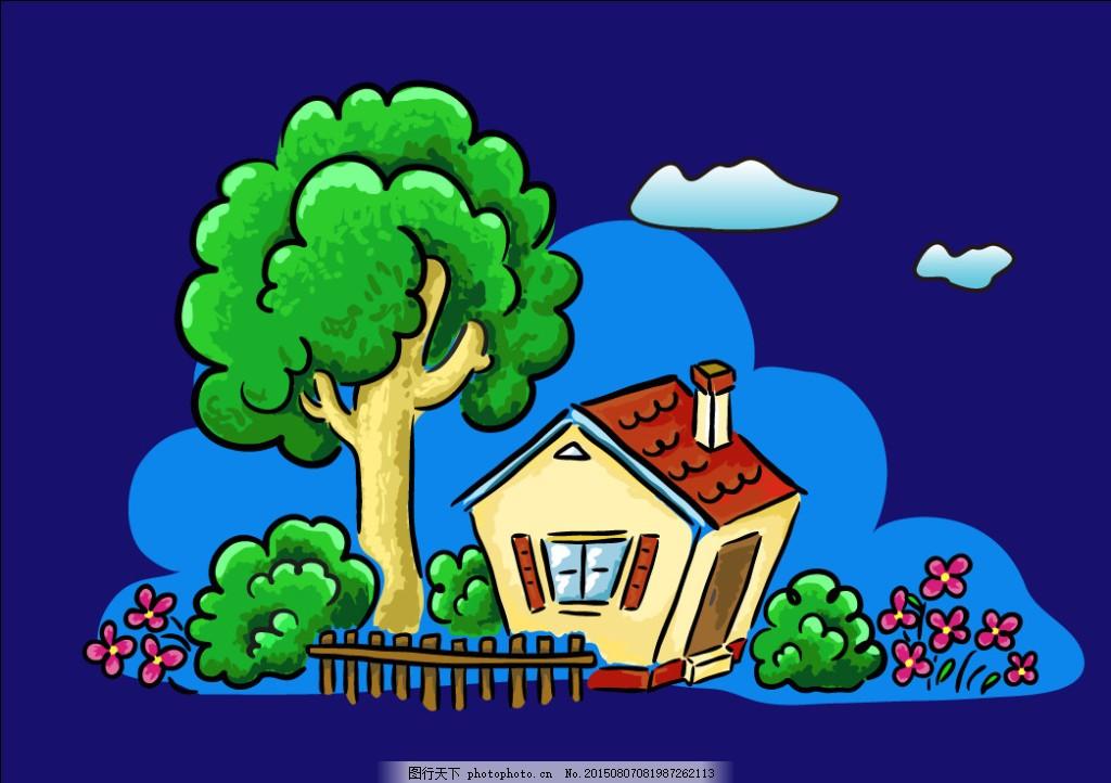 卡通小房子 迷你 背景素材 可爱房子 漫画 屋子 小木屋 小花