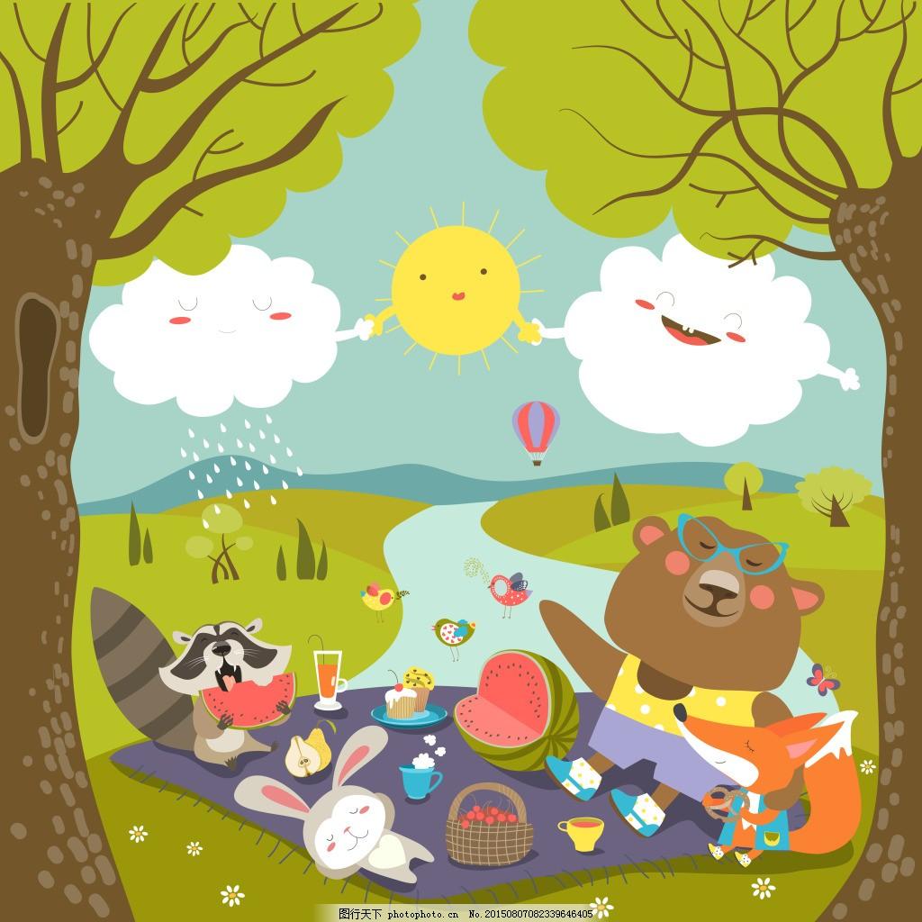 在森林野餐的动物矢量插图
