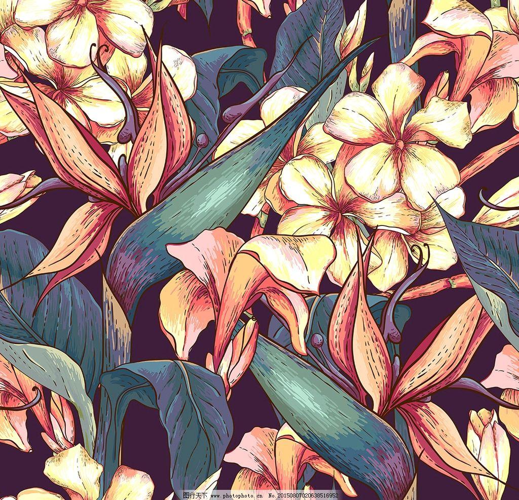 手绘花 花朵 花丛 绿叶 色彩 油画 背景 底纹 花纹