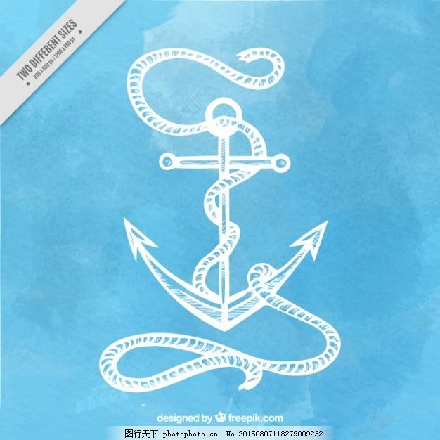水彩背景的手绘锚 水彩画 海 蓝底 绳子 航海 海洋 绘画 元素