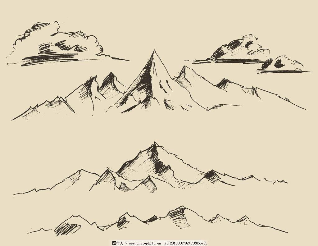 手绘山峰图片_自然风光