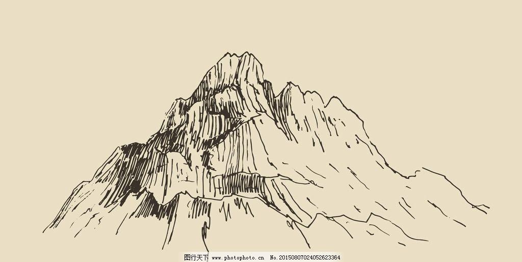 手绘山峰 素描 高山 山脉简笔画 插图 绘画 山峦 山川 自然风景 设计图片